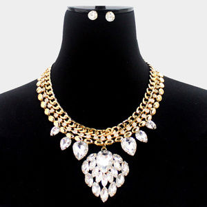 Glass Crystal Cluster Chain Necklace Earrings